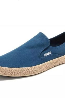 Blue easy Men Slip On Loafer with jute woven sole