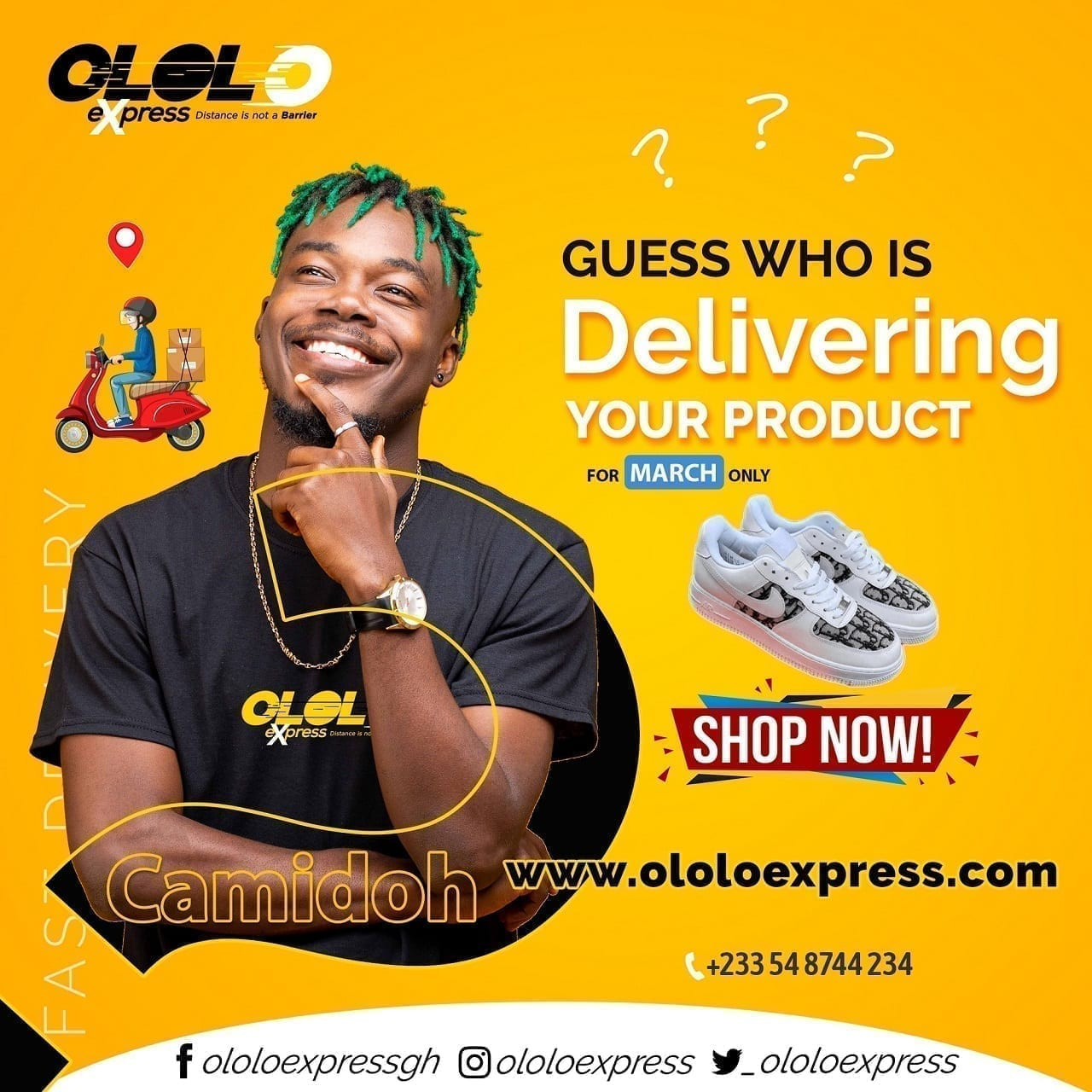 Camidoh will be delivering orders from ololoexpress