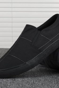 all black out stitched slip on loafer