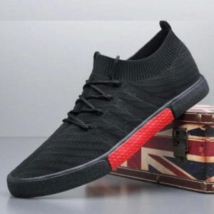 black Men lace up knitted shoe with black sole