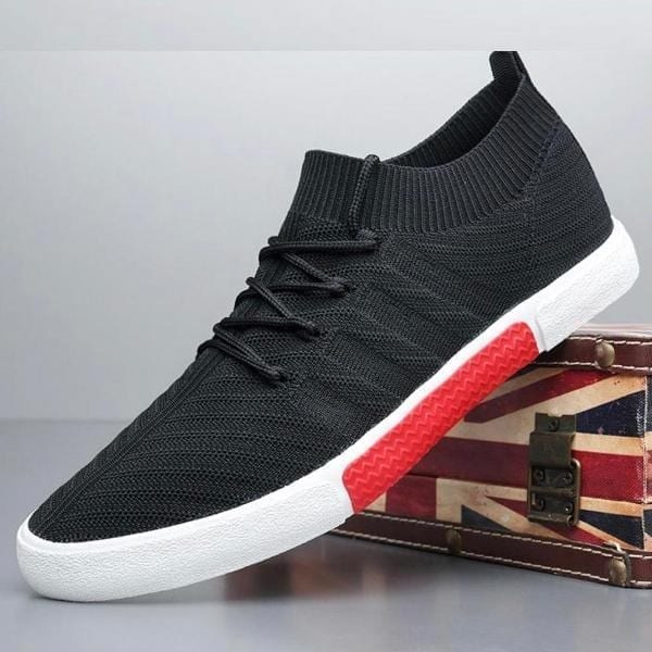 black Men lace up knitted shoe with white sole