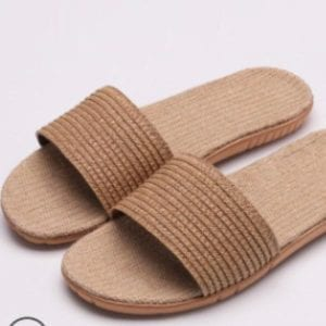 brown comfortable slides