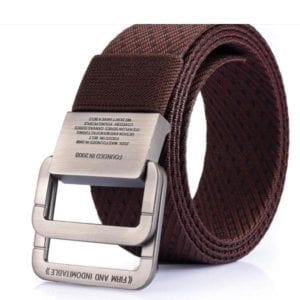 brown weave double hook belt