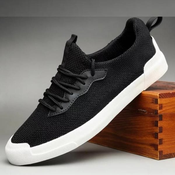 lace up knitted Men shoe black