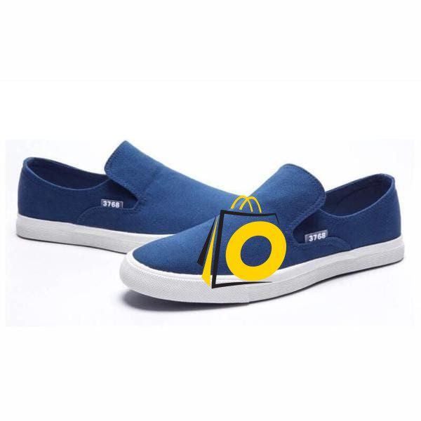 neat blue Men Slip On Loafer with white sole