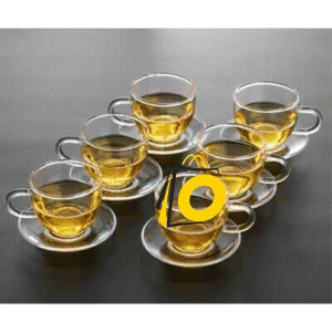Glass Tea Cups 6 pieces and saucers